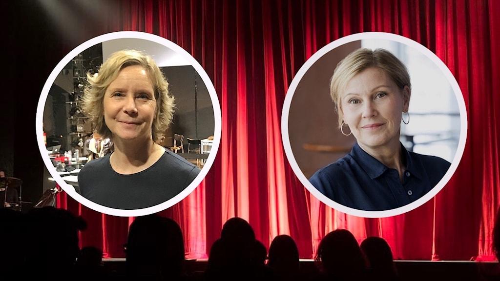 Två kvinnoporträtt infällda i cirklar på en röd ridå.