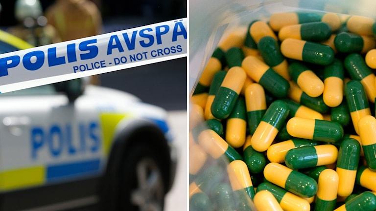 Tvådelad bild: Polisbil och en påse med drogklassade läkemedlet tramadol