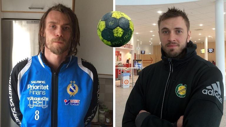 Tobias Johansson  och Jonas Larholm med en handboll inklippt mellan sig