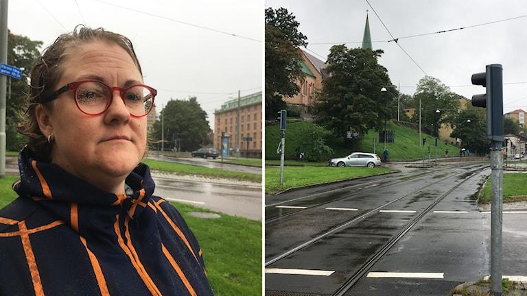 En kvinna står vid en gata.
