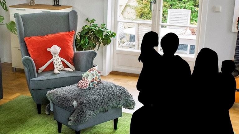 Siluetten av en familj och ett vardagsrum i bakgrunden
