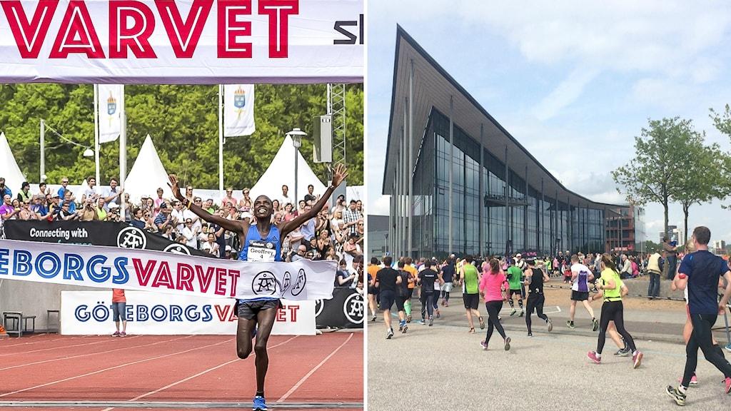 En löpare korsar mållinjen med armarna uppsträckta i segergest. Till höger löpare springer förbi radiohuset.