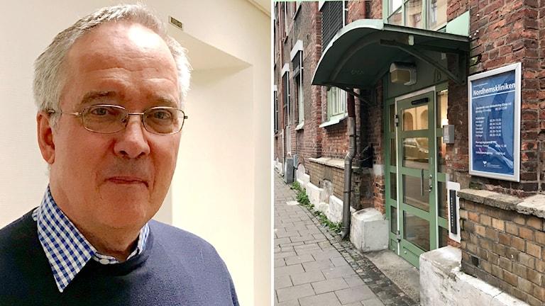 En bild med en man med glasögon och en bild med en port.