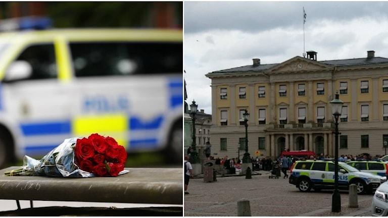 En bukett med rosor framför en polisbuss och en polisbil på Gustaf Adolfs torg