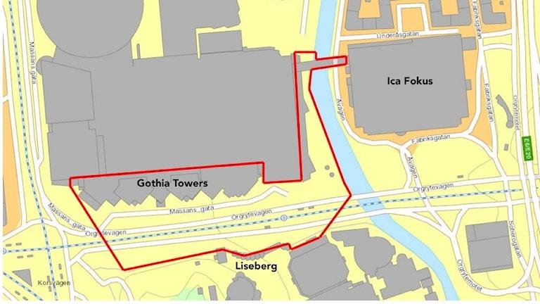 En karta som visar var avspärrningarna vid Korsvägen ska vara.