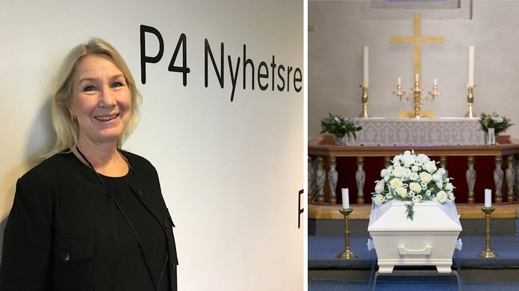 En bild på en kvinna och en bild på en vit kista