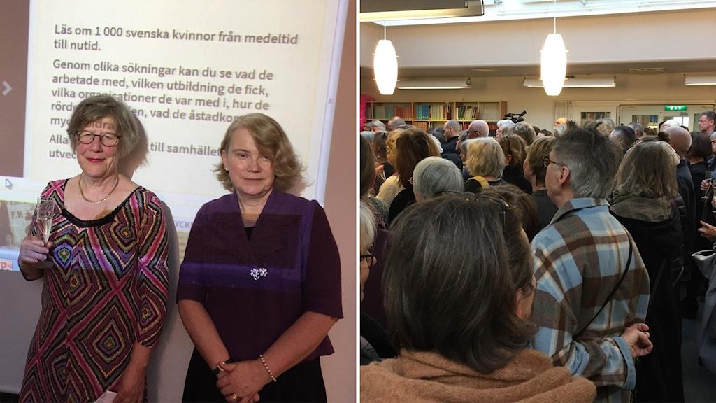 Två bilder en med två kvinnor och en med publik
