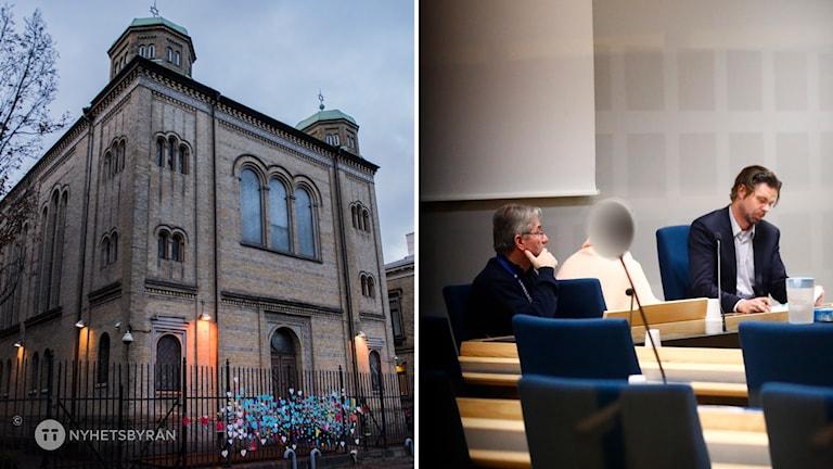 Synagogan och till höger från häktningsförhandlingen.