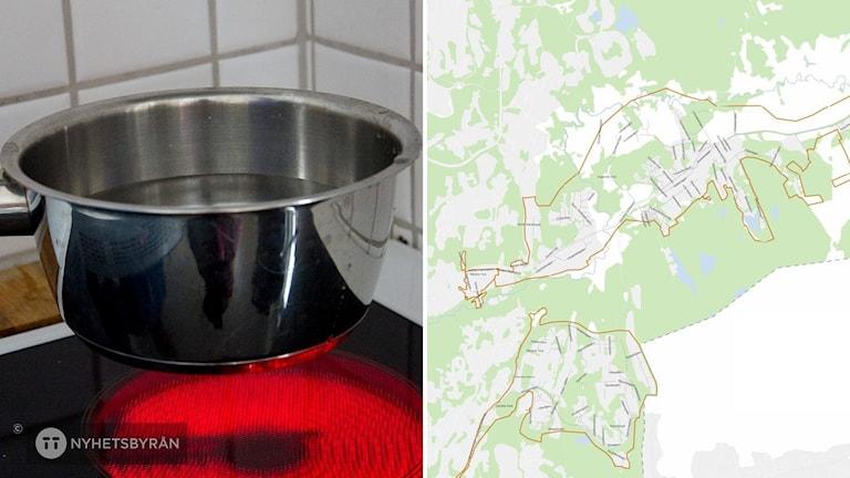 En hand håller i en kastrull med vatten ovanför en varm spisplatta. Till höger en karta.