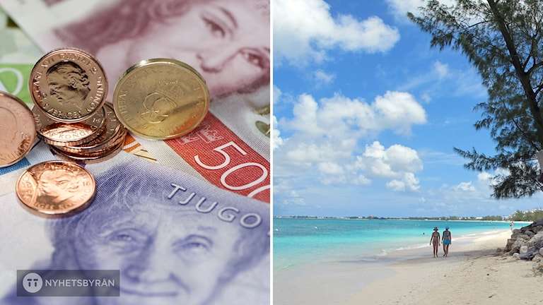 Tvådelad bild: Till vänster syns sedlar och mynt. Till höger en bild på en strand i skatteparadiset Caymanöarna.