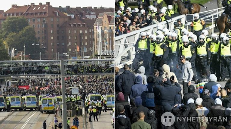 Demonstrationer utanför svenska mässan.