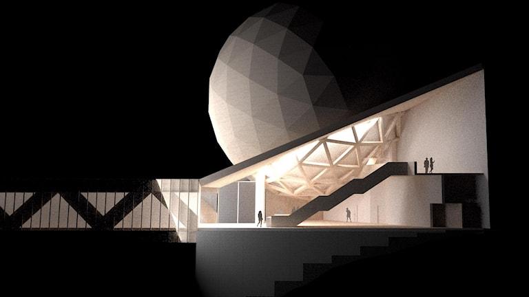 En bild som visar hur den runda tillbyggnaden kommer att se ut på taket. Nattetid då den är belust.