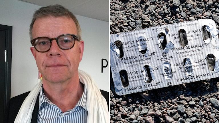 En bild på en man med glasögon och en bild på en tom tablettförpackning