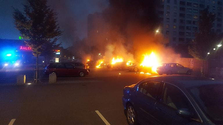 قام مجموعة من الملثمين في بلدية يوتيبوري مساء الإثنين بإضرام النيران في حوالي 50 سيارة