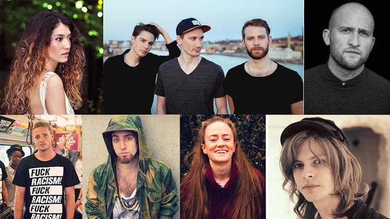 Ett collage med bilder på alla finalister i årets P4 Nästa