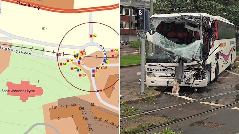 Karta där olyckor är utmarkerade. Samt bild på en krockad buss.