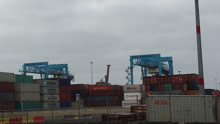 Göteborgs containerhamn.