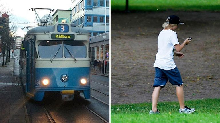En bild på en spårvagn och en bild på en kille