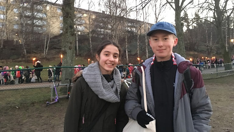 Sara och Sander, sjätteklassare på Nya Frejaskolan