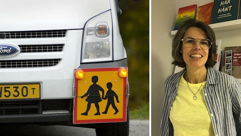 Bild på en skolskjuts. Foto på Ann Nolin, skolombud på autism och aspergerföreningen i Göteborg