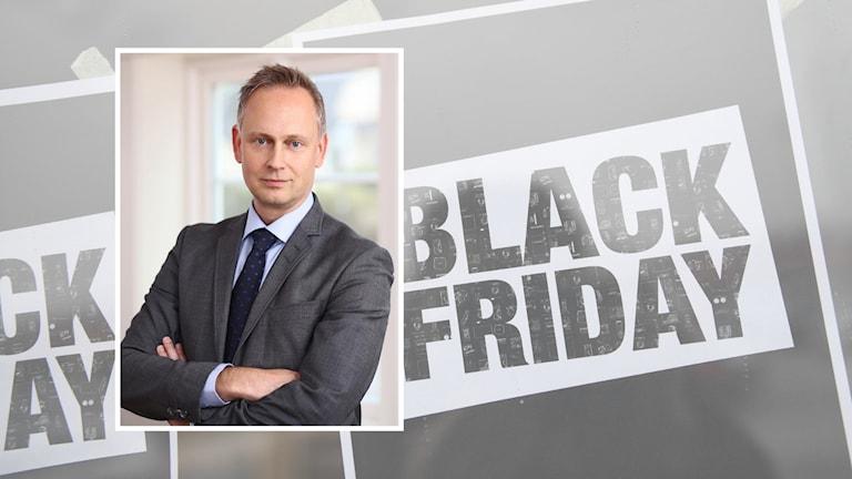 """Kollage. Bakgrunden står det """"Black Friday"""" på lappar upptejpade på en vägg. Ovanpå är en bild på Johan Davidson."""