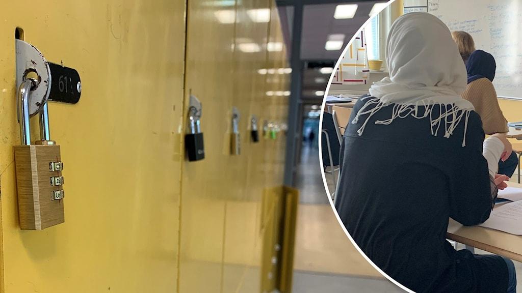 På bilden finns en lång rad med gula skolskåp med lås på och en liten bild över tagen i en klassrum med en elev i slöja på