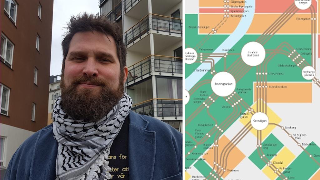 Mattias Axelsson från Alla ska kunna bo kvar framför hus