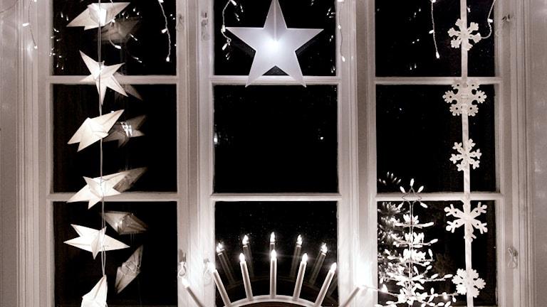 Adventsljusstakar i fönster
