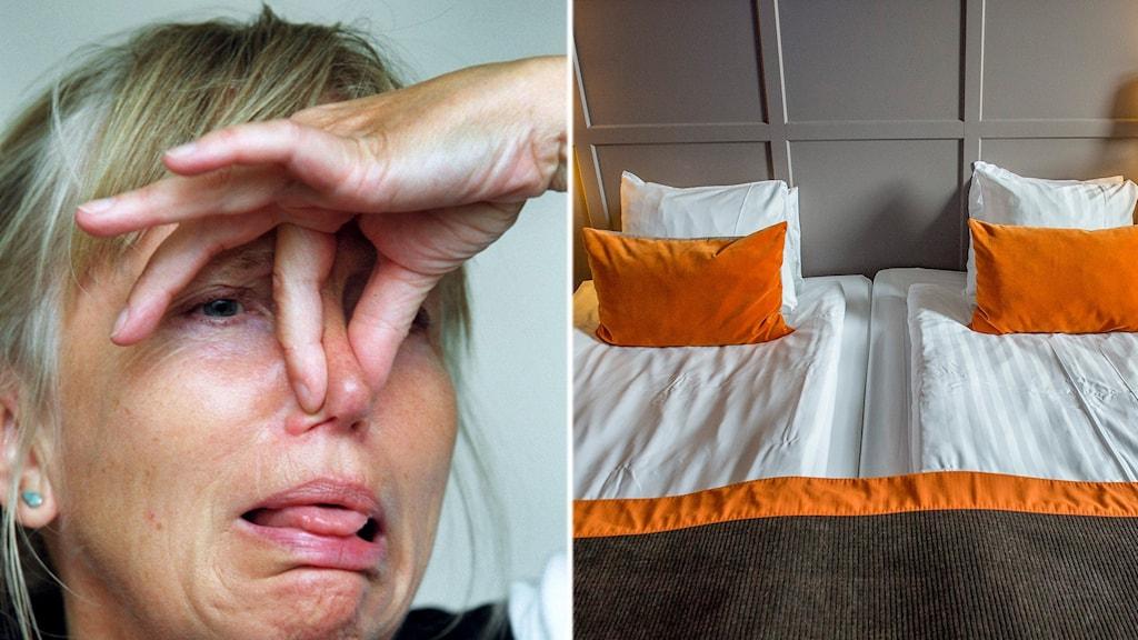 En kvinna som håller för näsan och ett hotellrum.