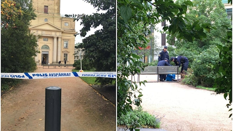 Polisens avspärrningsband utanför Domkyrkan. Tre polismän lägger ner något i en påse