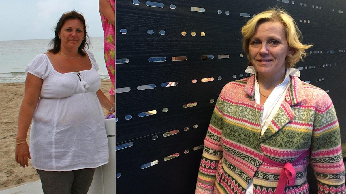 Två bilder med samma kvinna vid olika tidpunkter