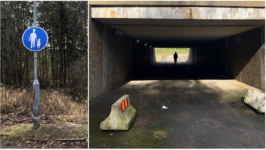 En gångtunnel vid Mejramsgatan i Lövgärdet