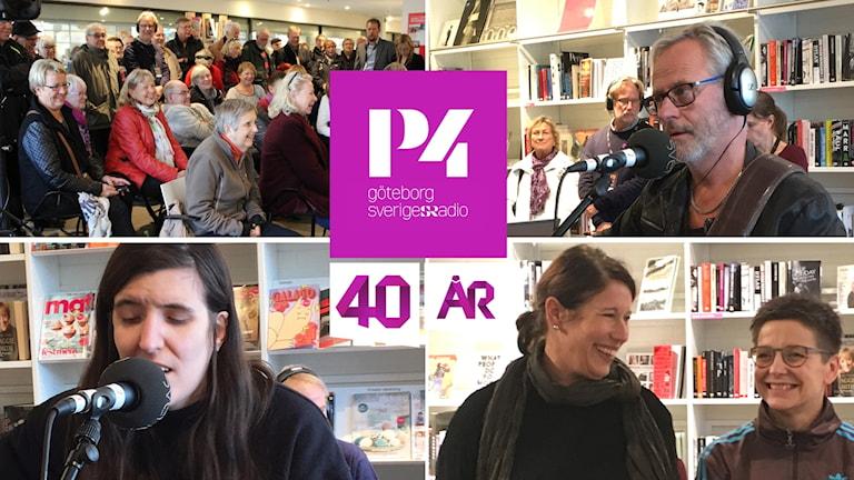 Collage av bilder från P4 Göteborgs 40 års firande