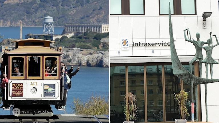 En spårvagn i san Francisco, i bakgrunden Alcatraz. Till höger  Intraservice i Göteborg.