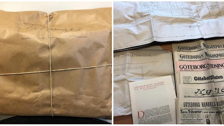 till vänster: paket. till höger: tidningar och dokument