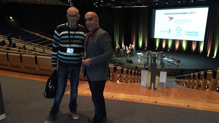 Calle Waller, Prostatacancerförbundet och överläkaren i urologi Ali Khatami på urologidagarna i Göteborg.