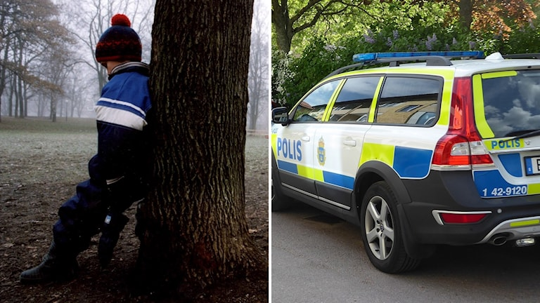 två bilder, en med ett barn och en med en polisbil