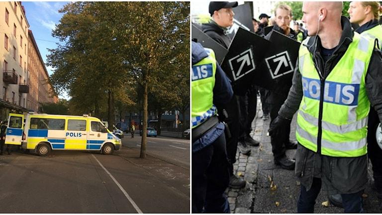 Polisen rustar för demonstrationståget som skall gå via Sten Sturegatan.