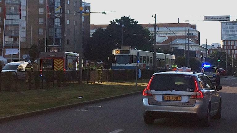 En spårvagn i Göteborg står still efter en olycka.