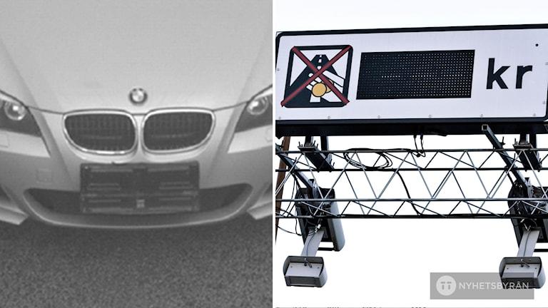 En bil med manipulerad registreringsskylt. Till höger en vägtull.