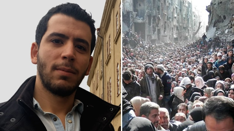 Jihad Eshmawi och en bild över ett bombat Yarmuk.