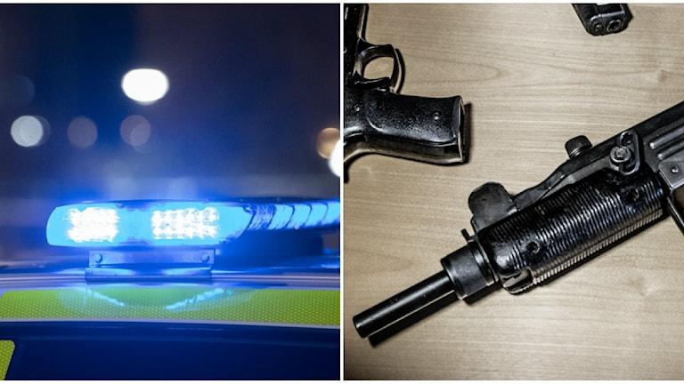 Blåljus och en arkivbild på vapen som ligger på ett bord.