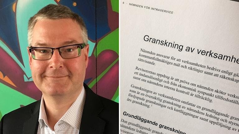Jonas Ransgård och en bild på den utskrivna granskningen.