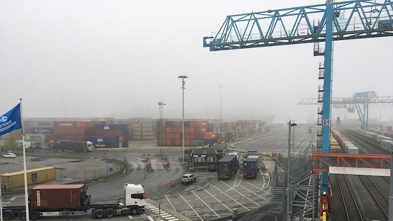 Vybild över Göteborgs containerhamn.