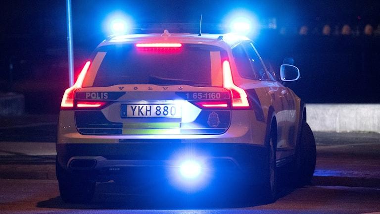 Baklyktorna på en polisbil