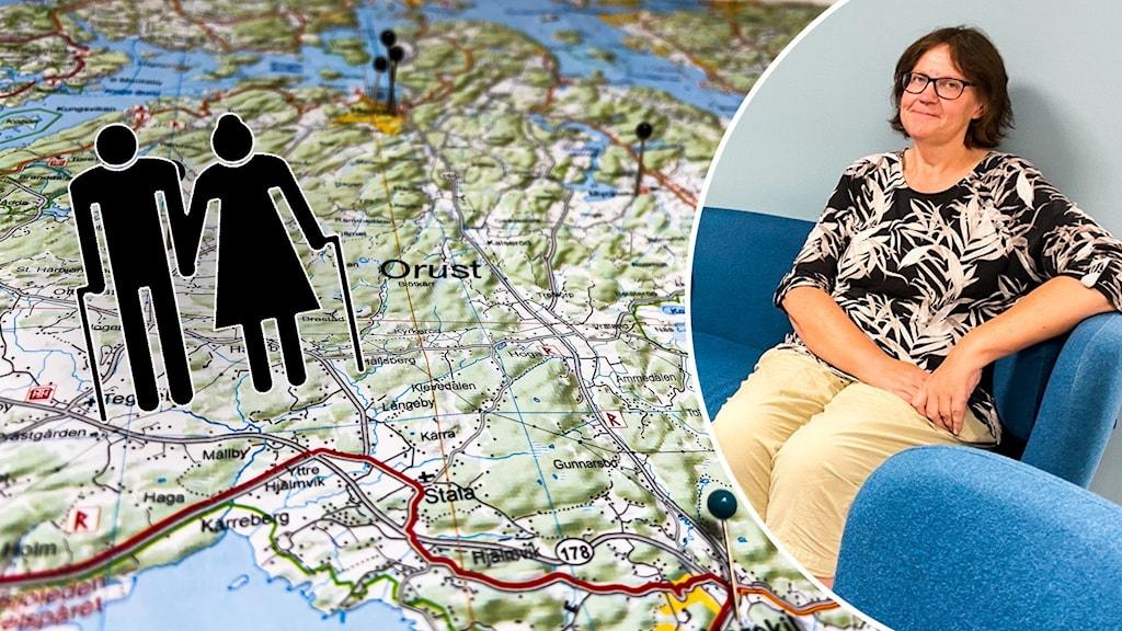 Kartbild med symbol av äldre människor och kvinna som ler.