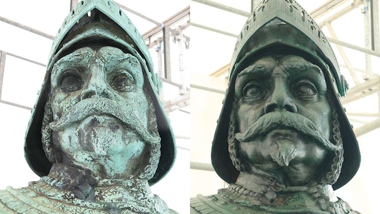 statyns huvud har restaurerats av en konservator.