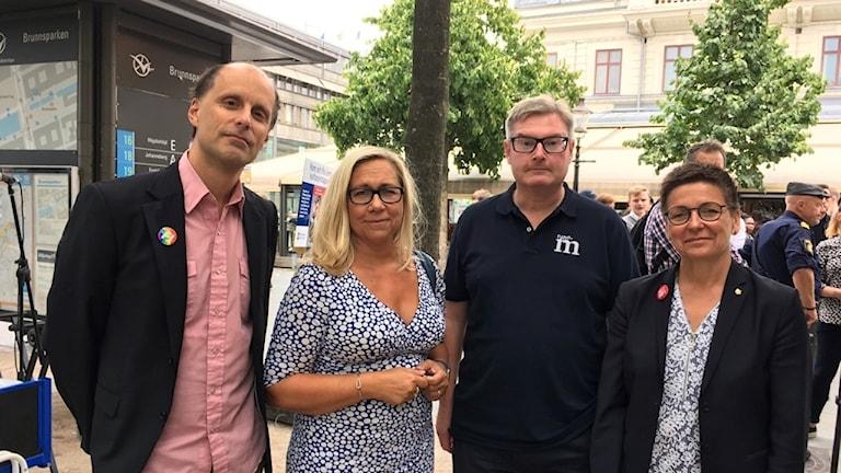 Martin Jordö Feministiskt initiativ,Helene Odenjung Liberalerna, Jonas Ransgård Moderaterna och Ann-Sofie Hermansson Socialdemokraterna debatterar om tryggheten i Göteborg idag.