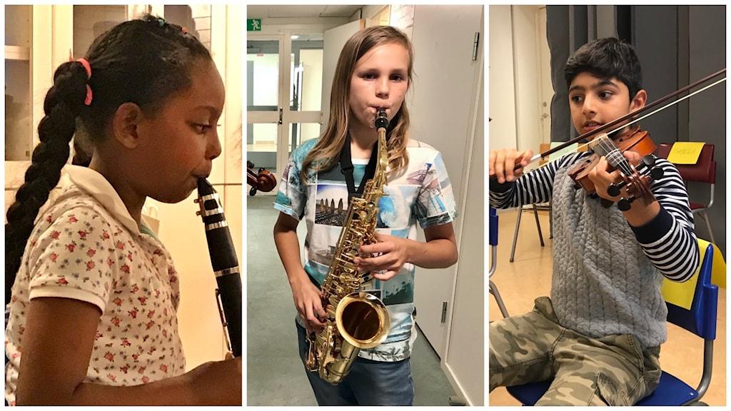Tre delad bild. Flicka som spelar klarinett. Pojke som spelar saxofon och och pojke som spelar fiol.