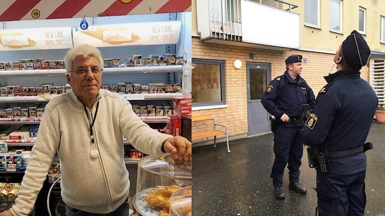 Tvådelad bild: Bahram Jafari i sin tobaksbutik. Till höger polismän på gården där dådet skedde.